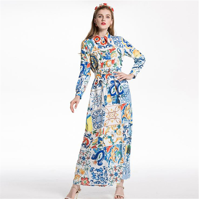 UNIQUEWHO Girls Women Bohemia Long Dress Loose Casual Flower Print Maxi Dress Elegant Boho Chic Spring Summer Dress 2018 New