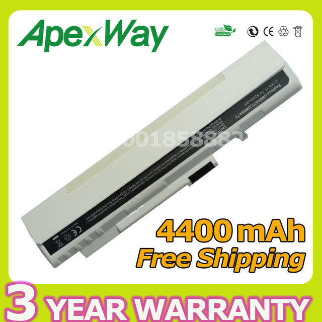 Apexway White 4400mAh laptop battery for Acer Aspire One A110 A150 ZG5 UM08A71 UM08A72 UM08A73 UM08B74 UM08A31 LC.BTP00.017