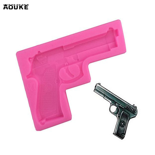 Toy Pistol Shape Fondant Cake Silicone Mold Pastry Chocolate Mould Jelly Pudding Candy Molds Ice Cube Soap DIY Baking Tools M079