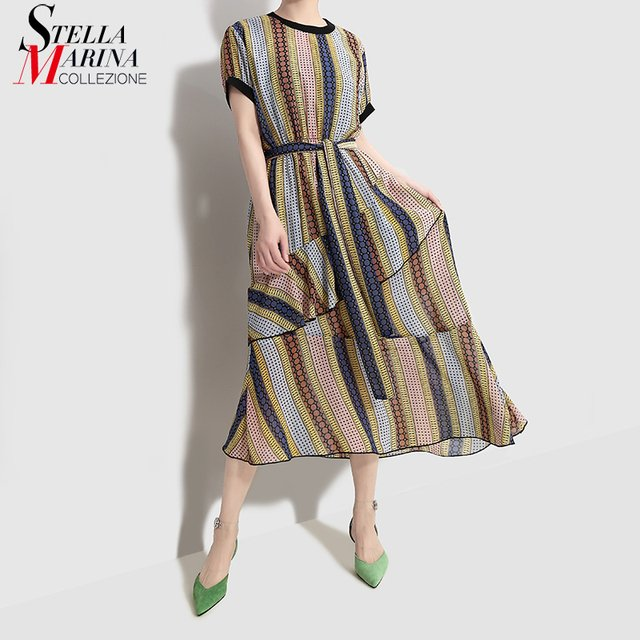 2019 Korean Style Women Summer A-Line Long Striped Dress With Sashes Short Sleeve Female Stylish Casual Streetwear Dresses 4821