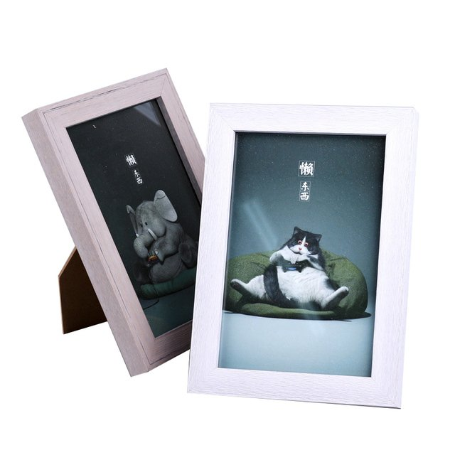 Household Creative Wooden Painting Photo Frame Ornaments Retro Glass Photo Frames Desktop Crafts Home Decor Birthday Gifts