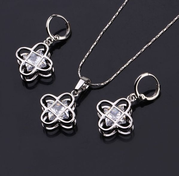 MxGXfam Lead and Nickel Free Copper Alloy  White Gold Color Jewelry Set For Women