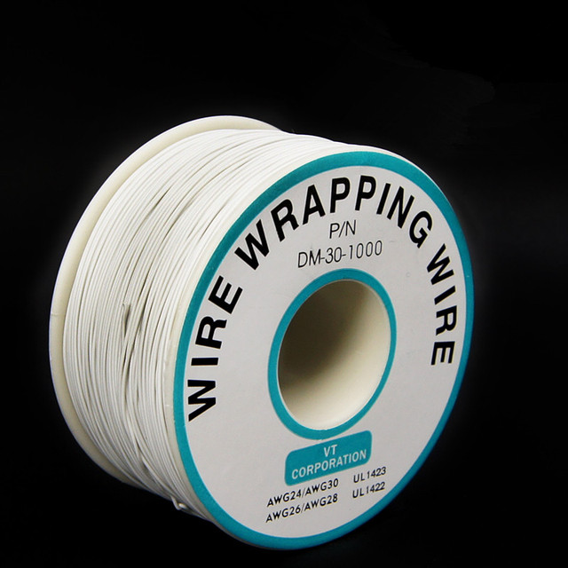 EziUsin Welding cable PCB Jumper Circuit Board 0.2mm Wire-Wrapping Electronic Wire 30AWG Cable 250m White 30AWG 0.5mm