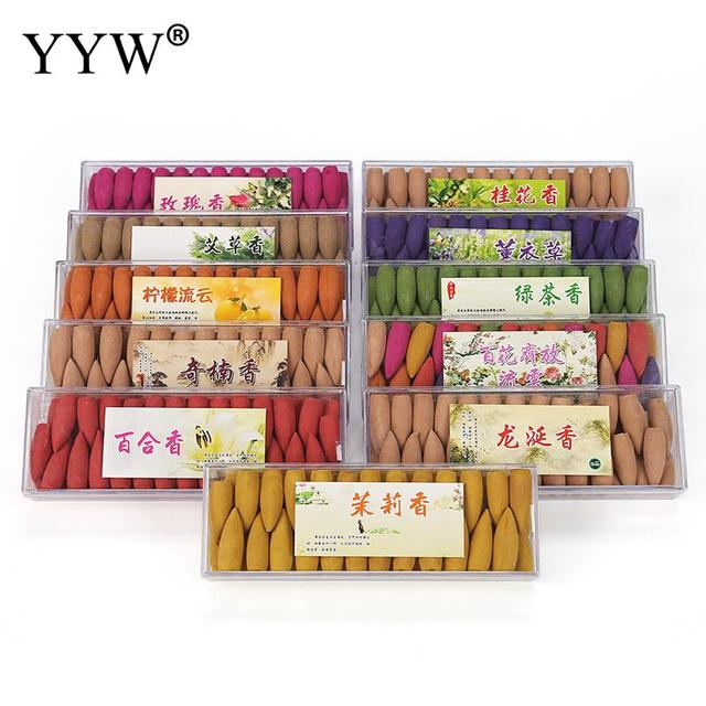 52pc/Box Oud Perfume Wierook Sandalwood Flower Scent Backflow Incense Cones India Home Scent Aroma Diffuser Cones Aromatherapy