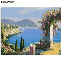 DRAWJOY Seascape Painting By Numbers Frameless Oil Painting DIY Coloring By Numbers Home Decor For Living Room GX7234 40*50cm