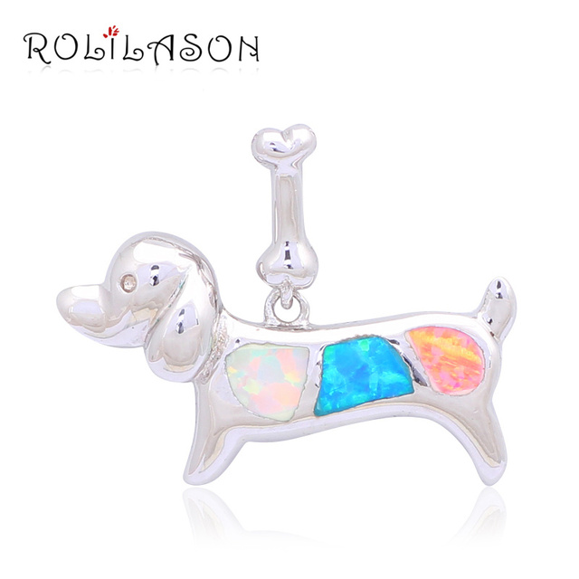 ROLILASON Hot sell Excellent Lovely Dog Women Color Blue Fire Opal Silver Stamped Pendants Fashion jewelry OP451