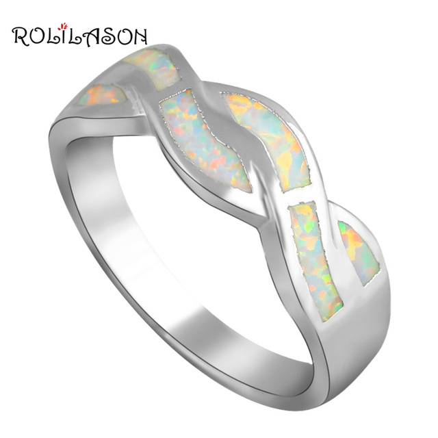 Rings for Ladies New style White Fire Opal stamp silver color HealthJewelry Ring USA #6#7#7.5#9 OR682