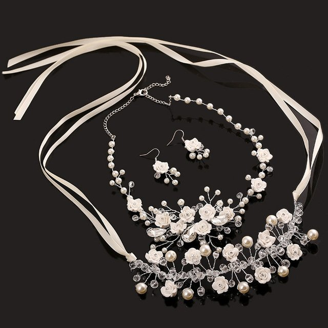 4 pieces bridal jewelry set pearl necklace bridal earrings crystal headband handmade jewelry sets wedding hair accessories