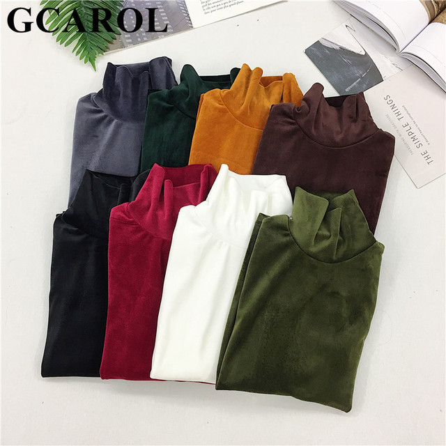 GCAROL New Arrival Fall Winter Women Pleuche Turtleneck Sweater Stretch High Quality Smooth Thick Pullover Basic Warm OL Tops
