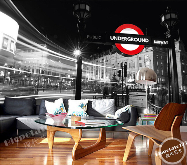 The latest 3D murals, black and white London street . De parede Papel, the living room TV sofa bedroom background wall paper