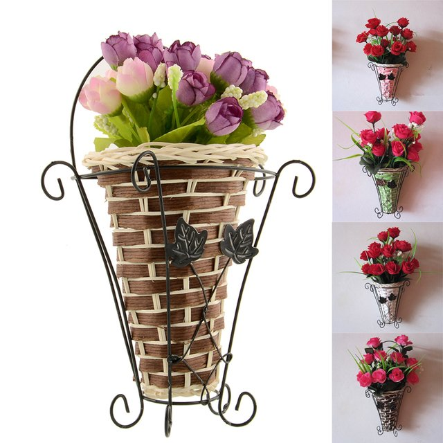 Vintage Weave Vine Wall Hanging Flower Basket Flower Arrangment Home Decor New