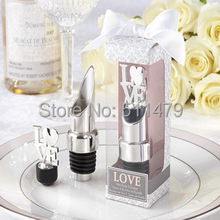 "Lowest Price in Aliexpress ""LOVE"" Chrome Bottle Pourer/Wine Stopper Good For Wedding Gift&Party Favors+100pcs/lot+FREE SHIPPING"