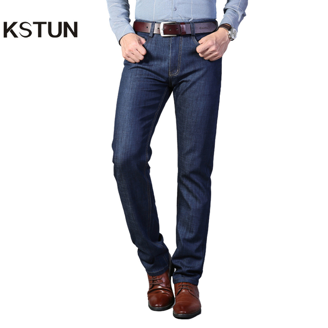 KSTUN Jeans for Business Man Straight Thick Spring and Autumn Men's Long Trousers Dark Blue Denim Pants High Quality Brand New