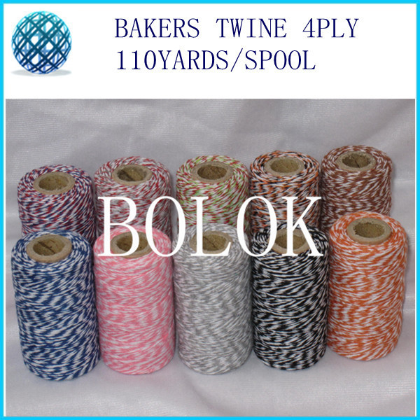 10pcs/lot thin Bakers twine 4 ply (110Yards/spool) color cotton twine 22kinds color you can choose by free shipping