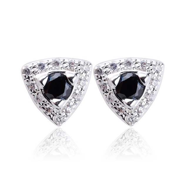Women Triangle Shape Real 925 Sterling Silver Studs Earrings with 4.5mm Stones Ear Decoration Jewelry E089