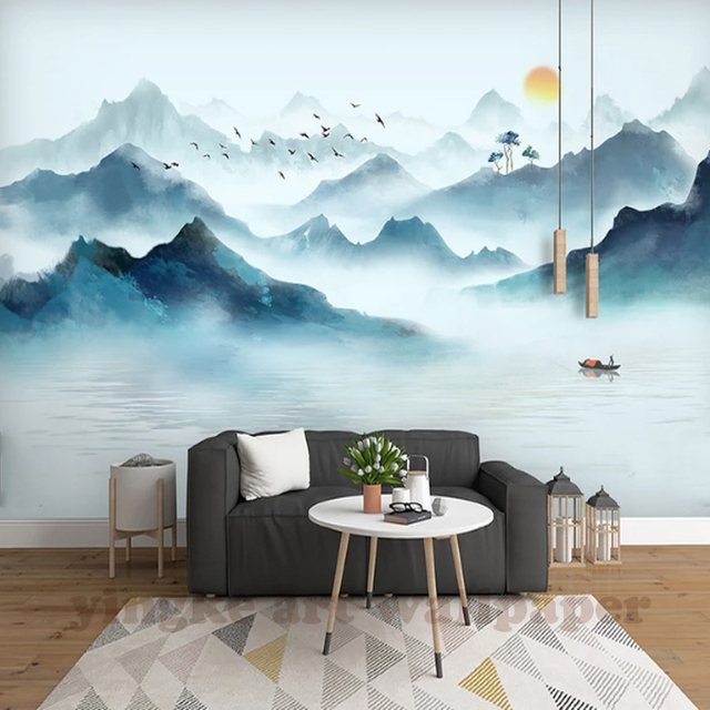 Modern simple home decoration 3D photo wallpaper Chinese ink landscape smoke background wall painting wallpaper living room