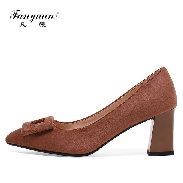 Fanyuan Outdoor Flock material Female's footwear Pointed Toe Ladies Bridal Single shoes Metal Decoration High Heels for Women