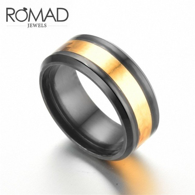 Gothic Men's 8mm Wide Black Gold Color Stainless Steel Rings For Brave Man Jewelry Boho Titanium Steel Ring Wholesale Lots Bulk