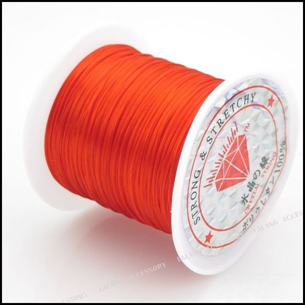 Beading string.Threading materials.100metres of strong and Light Orange Elastic