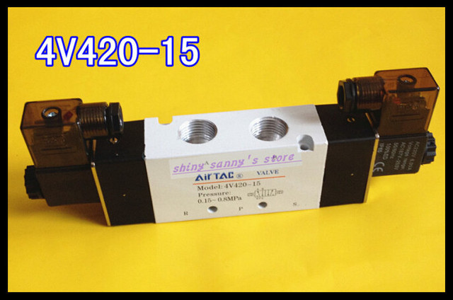 "1Pcs 4V420-15 AC220V 5Ports 2Position Double Solenoid Pneumatic Air Valve 1/2"" BSPT Brand New"