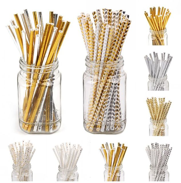 Cheap Paper Straws 100pcs(25pcs/pkg) Foil Gold Silver Paper Straws Perfect For Tailgating and Parties ,Disposable Paper Straws.
