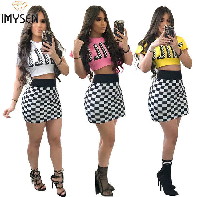 IMYSEN 2018 Summer Sexy Women Two Piece Set O Neck Short Sleeve Letter Tops Plaid Skirts 2PCS Dress Suits
