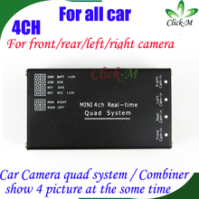 4CH car camera quad system for car rear view / front view / right view / left view camera at the some time show 4 pictures