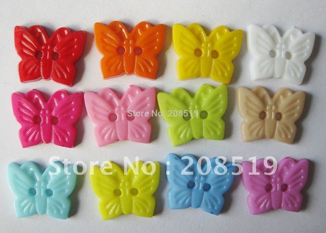 NB0094 18mm*15mm Butterfly Buttons Mixed colors 300pcs/lot kid's DIY toy Button plastic(can choose colors if need)
