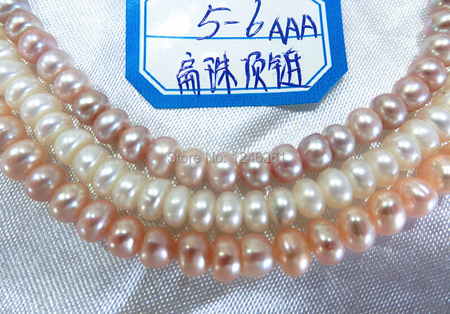 Nice Gift AAA 5-6mm Flat Freshwater Shell Pearls Loose Beads Jewelry Making Semi-finished Necklace Natural Stone Wholesale Price