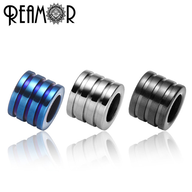 REAMOR 10pcs 316L Stainless steel 6mm Big Hole Blue Black Stripe Spacer Beads Charms For Jewelry Making DIY Bracelet Metal Beads