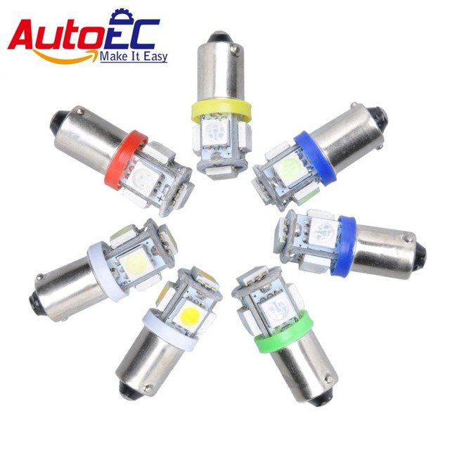 AutoEC 100x Truck T4W BA9S 5 SMD 5050 LED 5led H6W Indicator Auto Wedge Map Dome instrument White Red Blue Yellow DC12V #LG02
