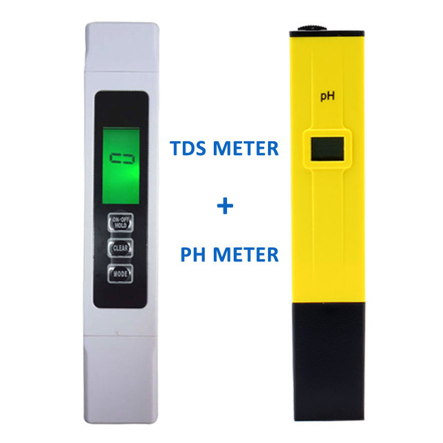 Backlight Digital TDS Meter Tester +PH meter Water Quality Purity Filter With battery,Wide Range 9999 ppm,EC/Temp/ppm/ Free ship