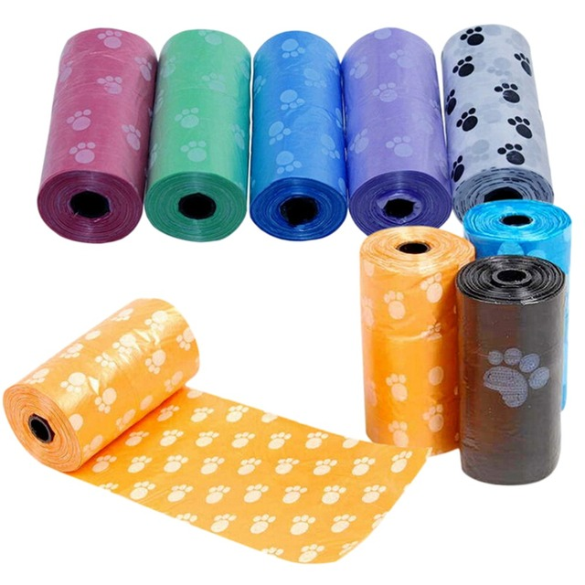 15Pcs/roll New Hot Sale Degradable Pet Dog Waste Poop Bag With Printing Doggy Bag For Cat Dog Color Random Delivery