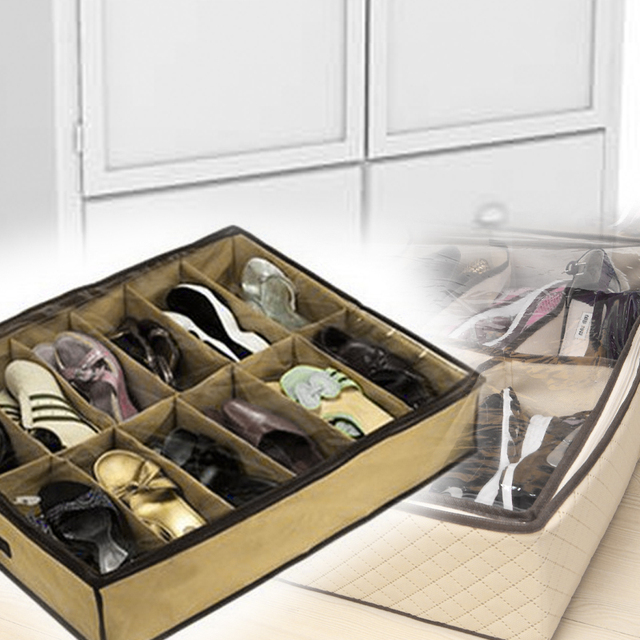 4PCS New Fashion 12Pair Shoes or Slippers Storage Organizer Holder Shoe Organiser Bag Box Under Bed Closet