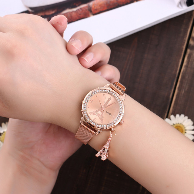 watch women quartz watches ladies geneva wristwatches 2020 Fashion Women Eiffel Tower Stainless Steel Quartz Wrist Watch Z70