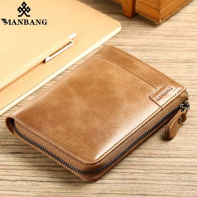 ManBang 2018 New Genuine Leather Men Wallet Small Vintage Zipper&Hasp Male Short  Men Wallets Coin Purse Brand More Styles