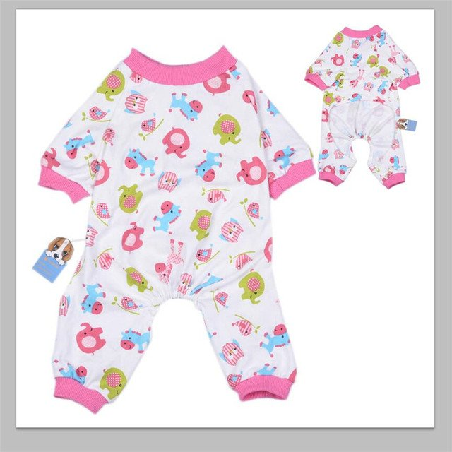 Dog Cat Pajamas with Lovely Pattern and Four Feet Design, Pet All Season PJS Jumpsuit for Small and Medium Sized Dog Pup