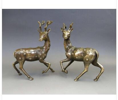 Art Copper home decoration Folk Culture Brass A Pair of exquisite China's old handmade decoration lucky copper sculptures - deer