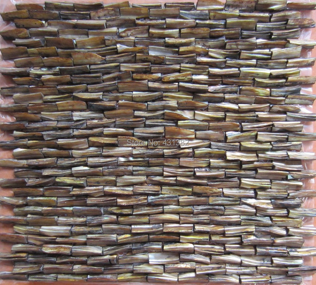 Rod  mesh mounted mother of pearl 3D brick decorated shell mosaic tiles in vintage  Free Shipping