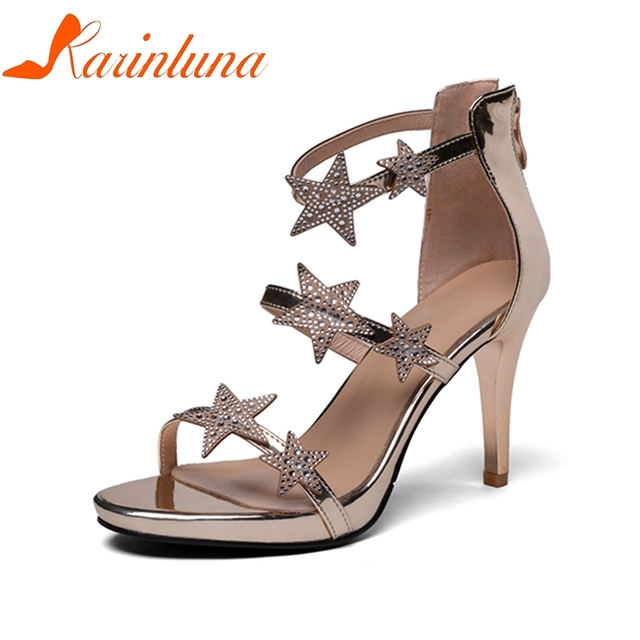 KARINLUNA Plus Size 33-42 Thin High Heel New Brand 2019 Woman Shoes Star Appliques Solid Sexy Women Shoes Summer Sandals