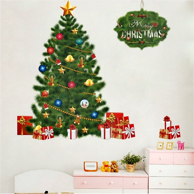 Happy New Year Tree Bells Gifts Wall Decals For Kids Rooms Window Decor Cartoon Wall Stickers Merry Christmas Posters Mural Art