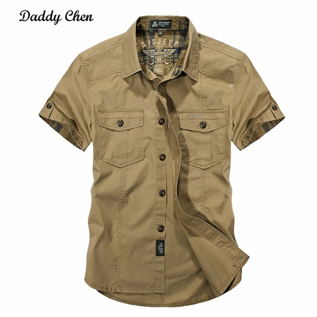 2019 Mens Fashion Jeep Cotton Mens Shirts Short Sleeve Slim Fit Military Style Shirt Men Tops Casual Male Camisas Tees Shirts