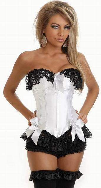 Women's Lace Corset Guipure White Corset With Black Lace Flower 3S3007 Free Shipping Satin Corset Lingerie