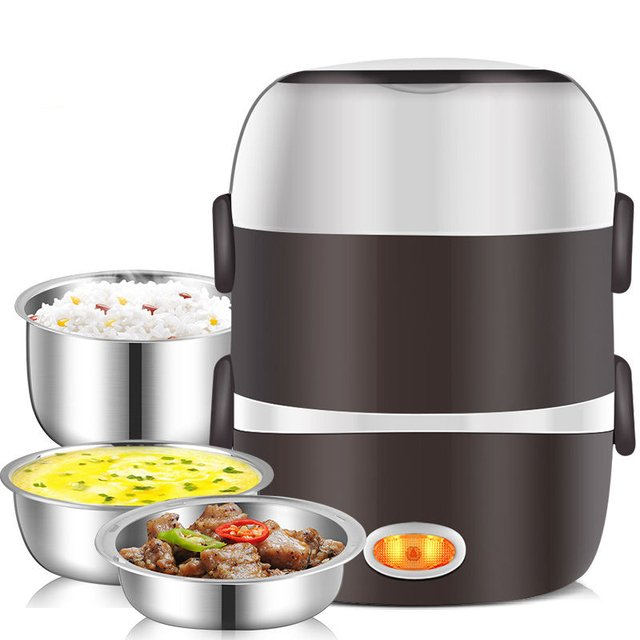 Food Warmer Mini Electric Rice Cooker Stainless Steel 2/3 Layers Steamer Portable Meal Thermal Heating Lunch Box Food