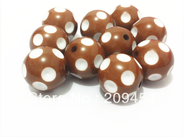 Newest !!20mm 100pcs/lot  Coffee Acrylic Polka Dot Beads,Chunky Beads For Chunky Jewellery Making