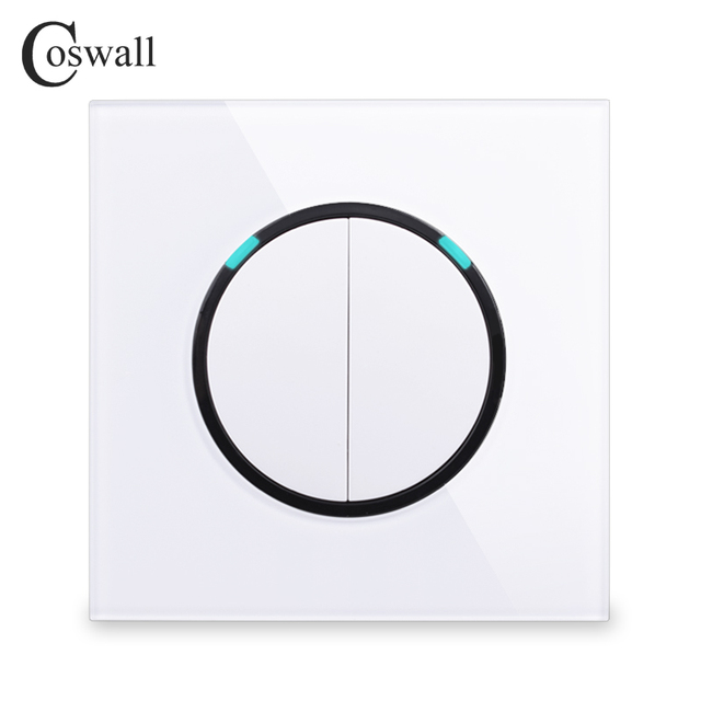 Coswall Crystal Tempered Glass Panel 2 Gang 1 Way Random Click Push On / Off Wall Light Switch With Blue Backlight R11 Series