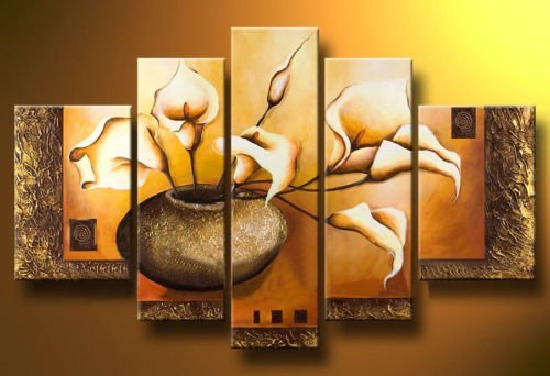 hand-painted  wall art Weak yellow lily bottle home decoration picture frame Landscape oil painting on canvas 5 piece canvas art