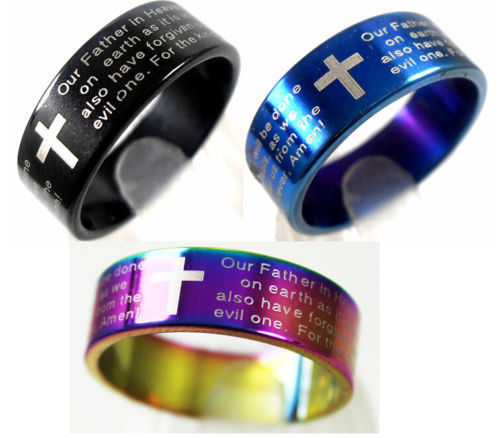 18pcs Blue/Black rainbow Mix Lord's Prayer Bible Rings Stainless Steel Cross Rings Wholesale Fashion Religious Jewelry Lots