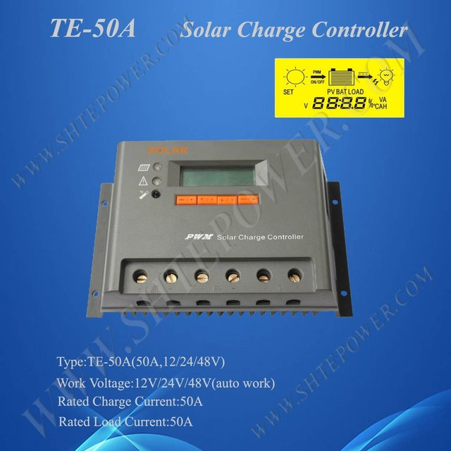 50A 12V 24V 48V auto work Solar Charge Controller Regulator, 2 Years Warranty, CE& ROHS Approved