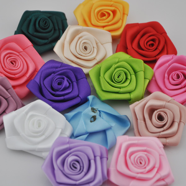 10 pcs Stain Ribbon flowers rose wedding decorations craft appliques B56